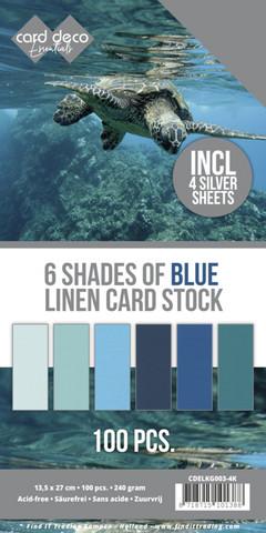 Card Deco Essentials kartonkipakkaus, 6 Shades of Blue, 100 kpl
