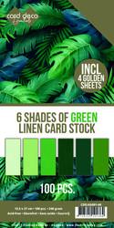 Card Deco Essentials kartonkipakkaus, 6 Shades of Green, 100 kpl
