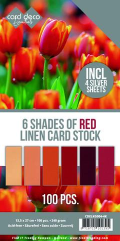 Card Deco Essentials kartonkipakkaus, 6 Shades of Red, 100 kpl
