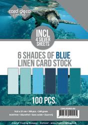 Card Deco Essentials kartonkipakkaus, 6 Shades of Blue, 100 kpl, A5