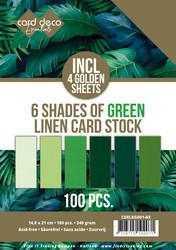 Card Deco Essentials kartonkipakkaus, 6 Shades of Green, 100 kpl, A5