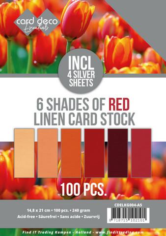 Card Deco Essentials kartonkipakkaus, 6 Shades of Red, 100 kpl, A5