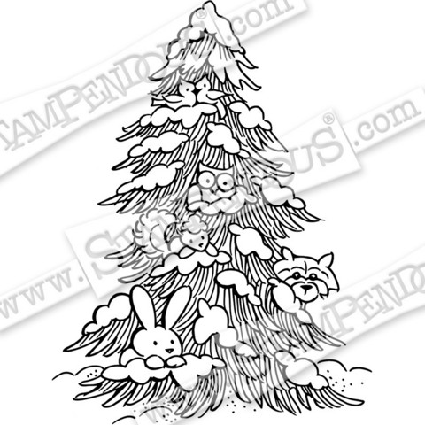 Stampendous leimasin Forest Christmas