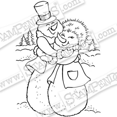 Stampendous leimasin Snow Couple Hug
