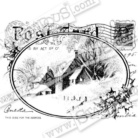 Stampendous leimasin Snowy Postcard