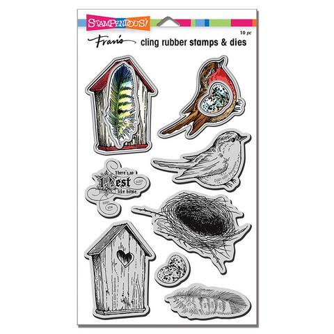 Stampendous Bird Collage -leimasin- ja stanssisetti