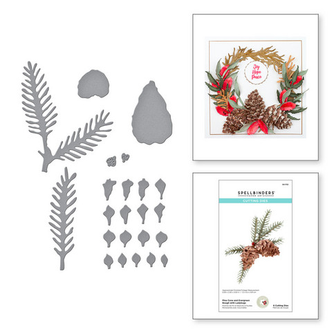 Spellbinders stanssisetti Pine Cone and Evergreen Bough with Ladybugs