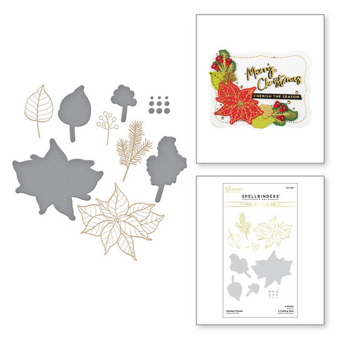 Spellbinders Glimmer Hot Foil -kuviolevy Holiday Florals + stanssisetti