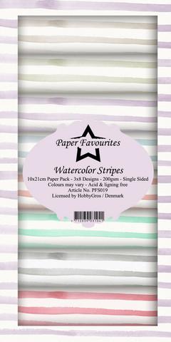 Paper Favourites Watercolor Stripes -paperipakkaus, Slim Line
