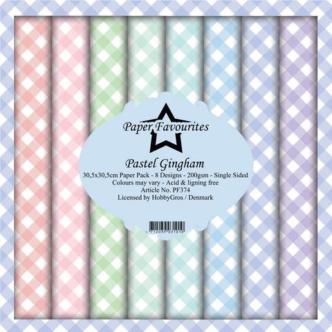 Paper Favourites Pastel Gingham -paperipakkaus, 12