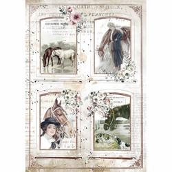 Stamperia riisipaperi Romantic Horses, 4 Frames