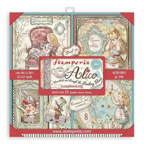 Stamperia Maxi paperipakkaus Alice in Wonderland and Through the Looking Glass, 12