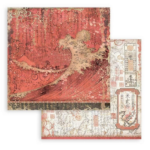 Stamperia Sir Vagabond in Japan skräppipaperi Red Texture