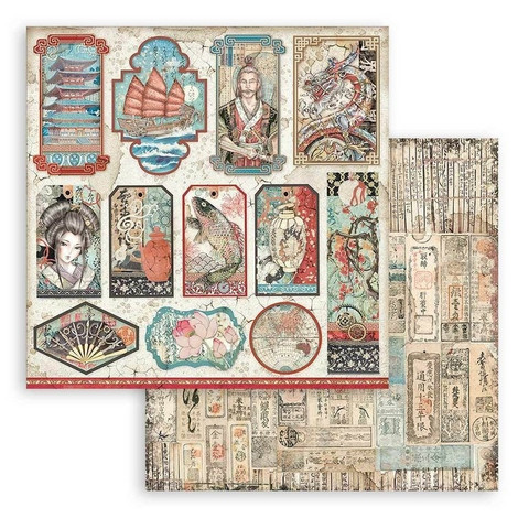 Stamperia Sir Vagabond in Japan skräppipaperi Tags