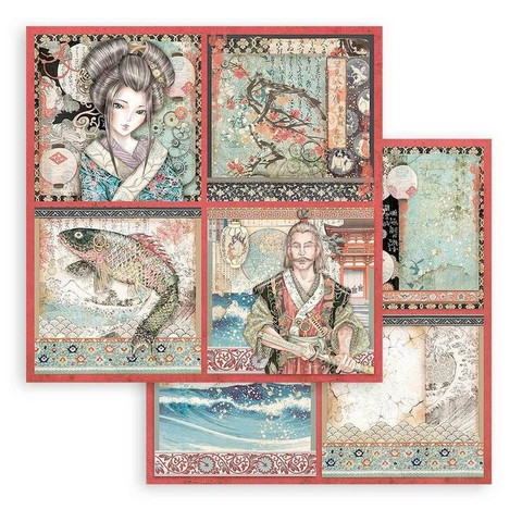 Stamperia Sir Vagabond in Japan skräppipaperi 4 Cards