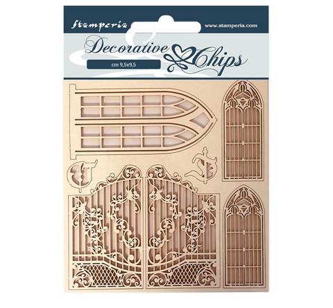 Stamperia Decorative Chips kuvioleikkeet Window and Doors