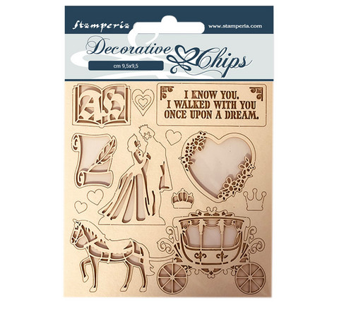 Stamperia Decorative Chips kuvioleikkeet Sleeping Beauty Coatch