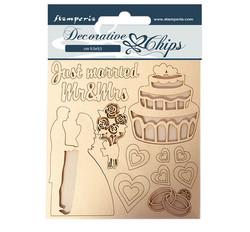 Stamperia Decorative Chips kuvioleikkeet Just Married