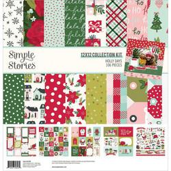 Simple Stories Holly Days -paperipakkaus, 12