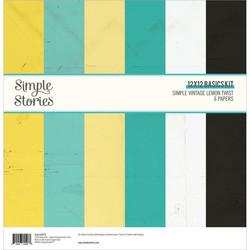 Simple Stories Simple Vintage Lemon Twist, Basics -paperipakkaus, 12