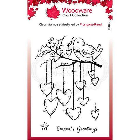 Woodware leimasin Hanging Hearts