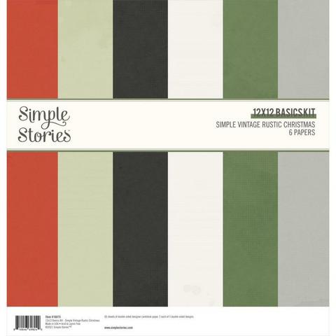 Simple Stories Simple Vintage Rustic Christmas, Basics -paperipakkaus, 12