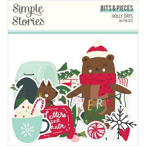 Simple Stories Holly Days Bits & Pieces Die-Cuts, leikekuvat