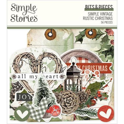 Simple Stories Simple Vintage Rustic Christmas Bits & Pieces Die-Cuts, leikekuvat