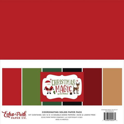 Echo Park Christmas Magic, Solids -paperipakkaus, 12