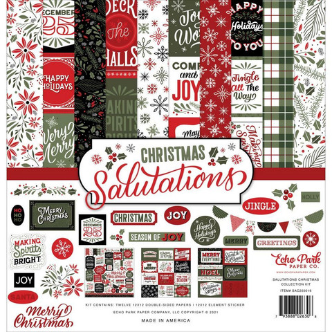 Echo Park Salutations Christmas -paperipakkaus, 12