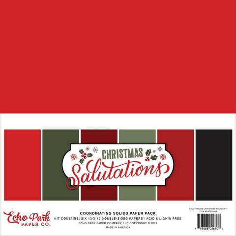 Echo Park Salutations Christmas, Solids -paperipakkaus, 12