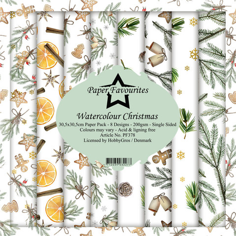 Paper Favourites Watercolour Christmas -paperipakkaus, 12