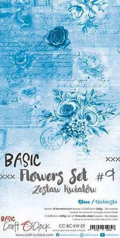 Craft O'clock paperipakkaus Basic Flowers Set 9, Blue