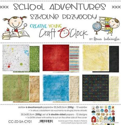 Craft O'clock paperipakkaus School Adventures, 12