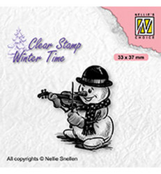 Nellie's Choice Silhouet leimasin Snowman With Violin