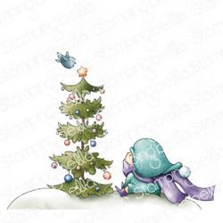 Stamping Bella Bundle Girl With A Christmas Tree -leimasin