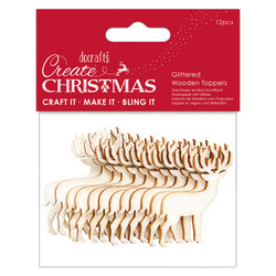Docrafts Glittered Wooden Toppers Stags -puukoristeet