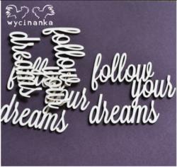 Chipboard tekstileike, follow your dreams, 3kpl