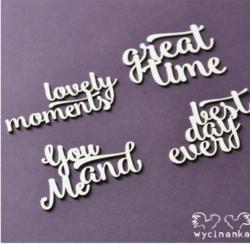 Chipboard tekstileikkeet, lovely moments, 4 kpl