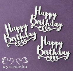 Chipboard tekstileike, Happy Birthday, 3 kpl