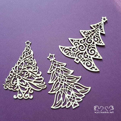 Chipboard leikkeet, Christmas trees, 3 kpl