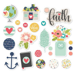 Simple Stories Faith Metal Brads & Tags, 24 kpl