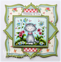 Whimsy Stamps Kitty in the Garden -leimasin