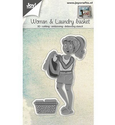 Joy! crafts stanssisetti Woman & Laundry Basket, pyykkikori