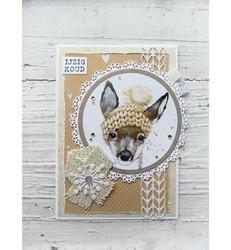 Marianne Design Winter wool pink -korttikuvat