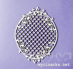 Chipboard kuvioleike, Blueberry swirls little frame with lattice