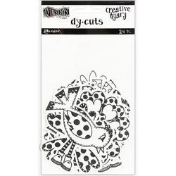 Dyan Reaveley's Dylusions Creative Dyary Die Cuts -leikekuvat, Black & White Birds & Flowers