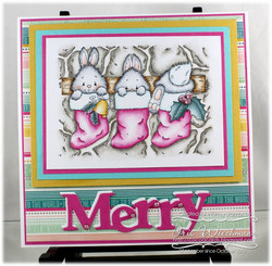 Whimsy Stamps Christmas Bunny Stockings -leimasin