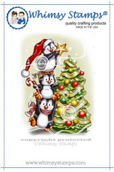 Whimsy Stamps Penguins Decorate The Tree -leimasin