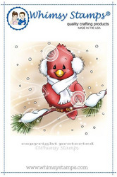 Whimsy Stamps Cardinal in Winter -leimasin